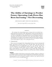 Kim and Kross. 2005. JAR The Ability of Earnings to Predict.pdf