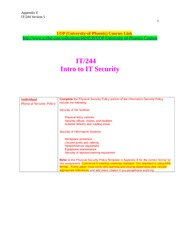 IT 244 Week 5 Individual - Physical Security Policy - Appendix E
