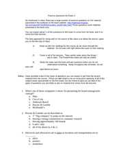 MGM 301 Midterm 1 practice questions sp 11