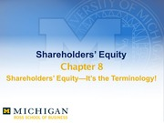 Chapter 8-Shareholders Equity