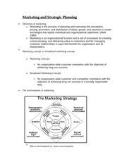 Marketing and Strategic Planning Notes