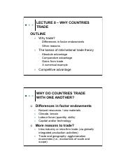 Lecture 8 - Why countries trade