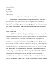 peer pressure and bullying essay peer pressure and bullying  5 pages essay on cyberbullying