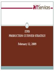 TST-Production Cutover Strategy