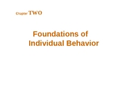 Chapter 2 - Foundations of  Individual Behavior - BB