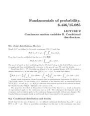 Continuous random variables II and Conditional distributions notes