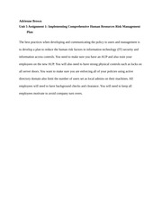 Unit 5 Assignment 1 Implementing Comprehensive Human Resources Risk Management Plan