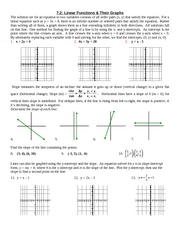 Study Guide on Linear Functions & Their Graphs