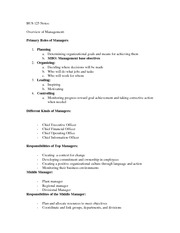 Overview of Management Review Sheet
