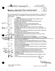 Medical History- Fact or Fiction quiz