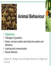 Lecture 11 -Animal Behaviour