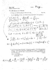 Exam B Summer 2011 Solutions on Calculus
