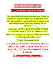 FIN 370 Final Exam # 54 Questions with ANSWERS # THE NEW EXAM!!! # 4th Set  # BUY THIS ONE #
