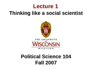 Lecture 1 - Thinking like a social scientist