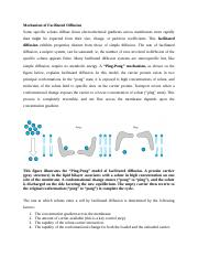 Mechanism Of Facilitated Diffusion Mechanism Of Facilitated Diffusion Some Specific Solutes Diffuse Down Electrochemical Gradients Across Membranes Course Hero