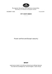 Frozen conflicts and Europe's security