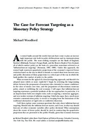 The Case for Forecast Targeting as a Monetary Policy Strategy