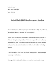 J352 plane in trouble and newsworthy release assignments