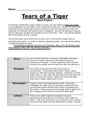 Project and Rubric Tears of a Tiger-2
