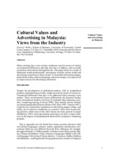 Cultural Values and Advertising in Malaysia Views from the Industry