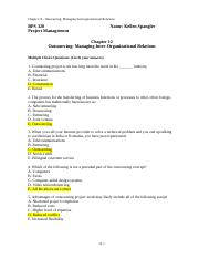 Chapter #12 Test (Outsourcing-Managing Inter Organizational relations)