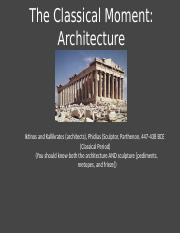 2.10 - The Classical Moment - Architecture