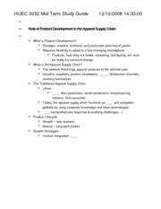 HUEC 3032 Mid Term Study Guide