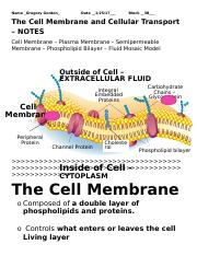 Cell Membrane Transport NOTES