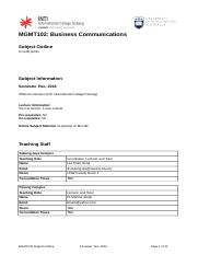MGMT 102 Business Communication S2 2016 Subject Outline (Penang Campus).docx