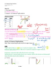 4.7 Inverse Trig Functions