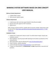 BANKING SYSTEM SOFTWARE BASED ON CRM CONCEPT USER MANUAL