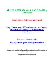 KELLER MGMT 530 Week 1 DQ 2 Enabling Conditions.doc