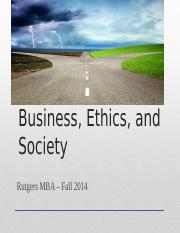 BE&S MBA Fall 2014 - Class 1-3