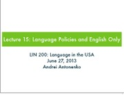 15. Language Policy and English Only