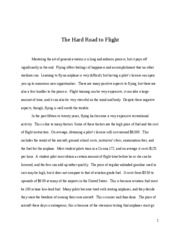 The Hard Road to Flight