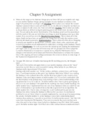 Chapter 9 Assignment