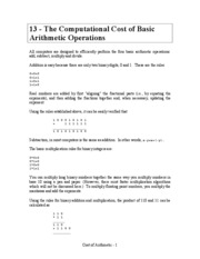13 Computational Cost of Arithmetic