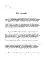 assignment 8 ELO summaries