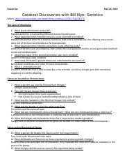 Bill Nye Genes Video Worksheet - Name Date Bill Nye Genes ...