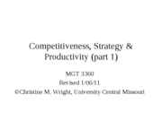 Competitiveness, strategy and productivity part 1 old ppt