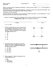 PHYS 142 Practice Test No. 2