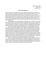 Personal Strategy Paper
