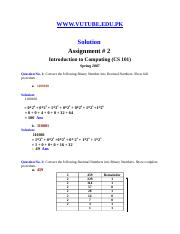 Introduction to Computing - CS101 Fall 2007 Assignment 02 Solution.doc