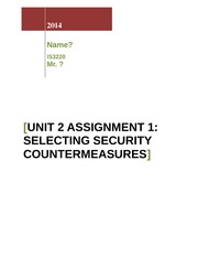 Unit 2 Discussion 1_Selecting Security Countermeasures