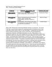 Strategic Marketing Process - WK 4 - Product and Pricing Strategy - Lanier-Gholston.docx