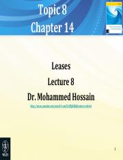 Topic 8 Lecture 7 Ch 14 Leases