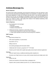 SWOT Analysis Arizona Sweet Tea (example)