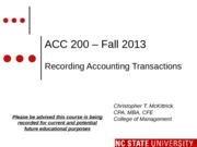 #03 SEC 3 MOODLE ACC200 Recording Accounting Transactions  - Fall 2013