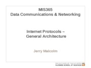 MIS365 9 - Internet Protocols - General Architecture