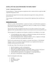 Notes, Applying and Interviewing for Employment.docx